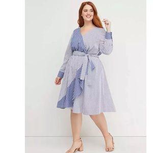 LANE BRYANT Beauticurve Striped Faux Wrap Dress 14